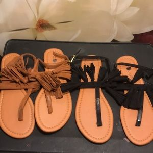 Shoes - TWO FOR ONE FRINGE SANDALS